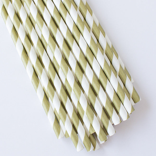Striped Paper Straws - Gold