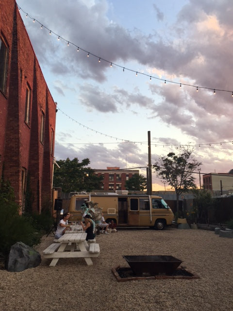 Picnic Table + Food Truck at Pioneer Works in Red Hook Brooklyn