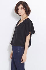 Raquelle  Black Silk Cap Sleeve Button Down Cropped Jacket Blouse Side View