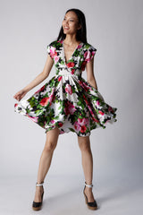 Raquelle Floral Silk Deep V Party Cocktail Dress Smocked Waist Full Circle Knee Length Front View