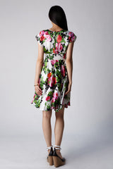 Raquelle Floral Silk Deep V Party Cocktail Dress Smocked Waist Full Circle Knee Length Back View