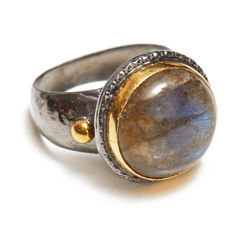 Labrodite 18K and Sterling Silver Ring