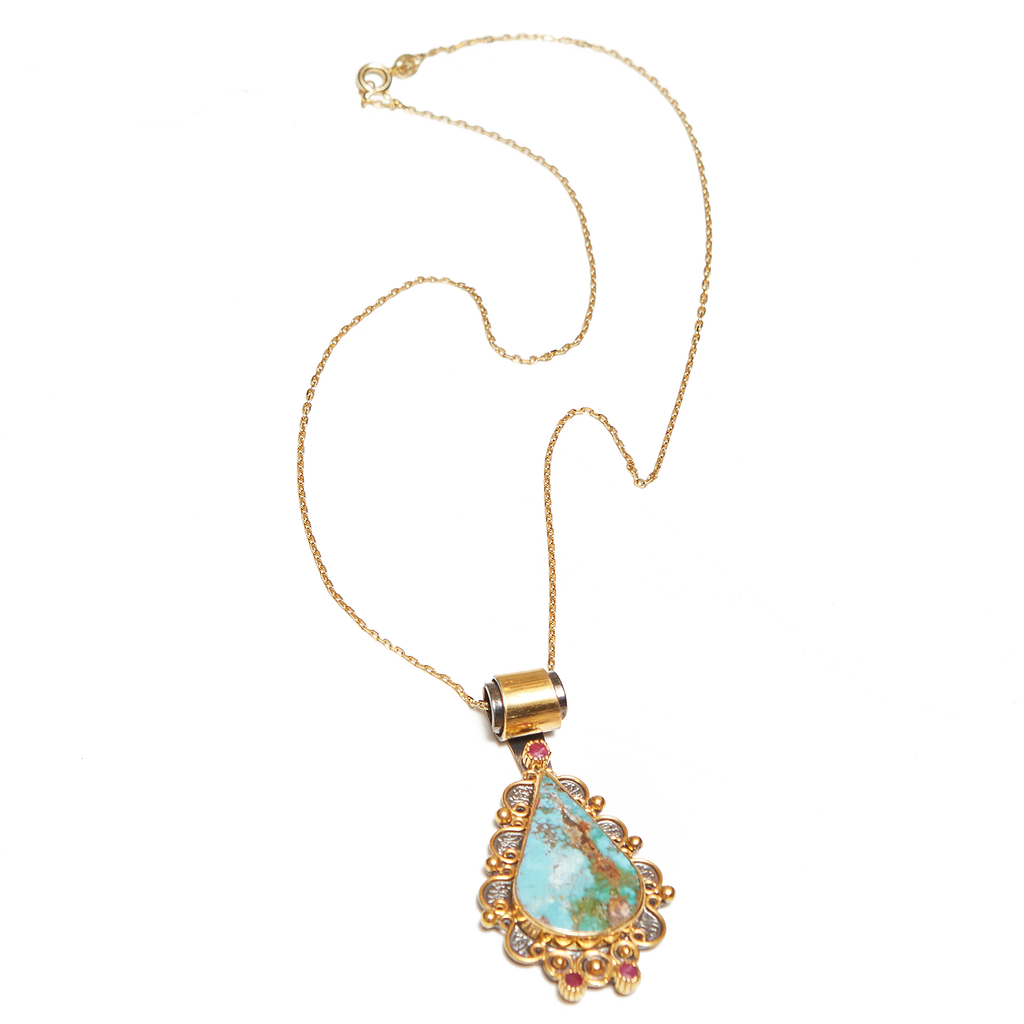 Teardrop Turquoise Pendant 18K Gold and Sterling Necklace