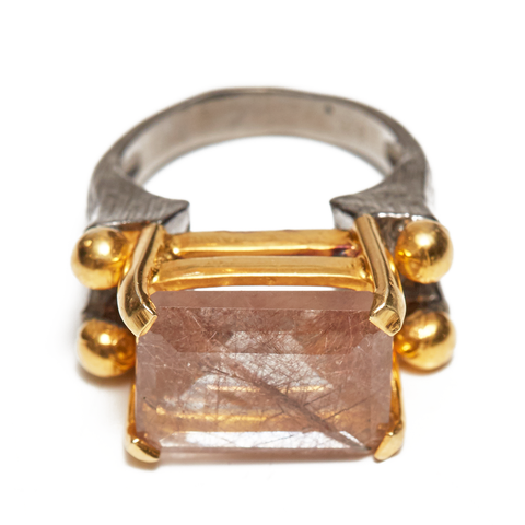 Rutilated Quartz 18K Gold and Sterling Silver Ring