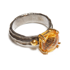 Square Citrine Sterling Silver Ring