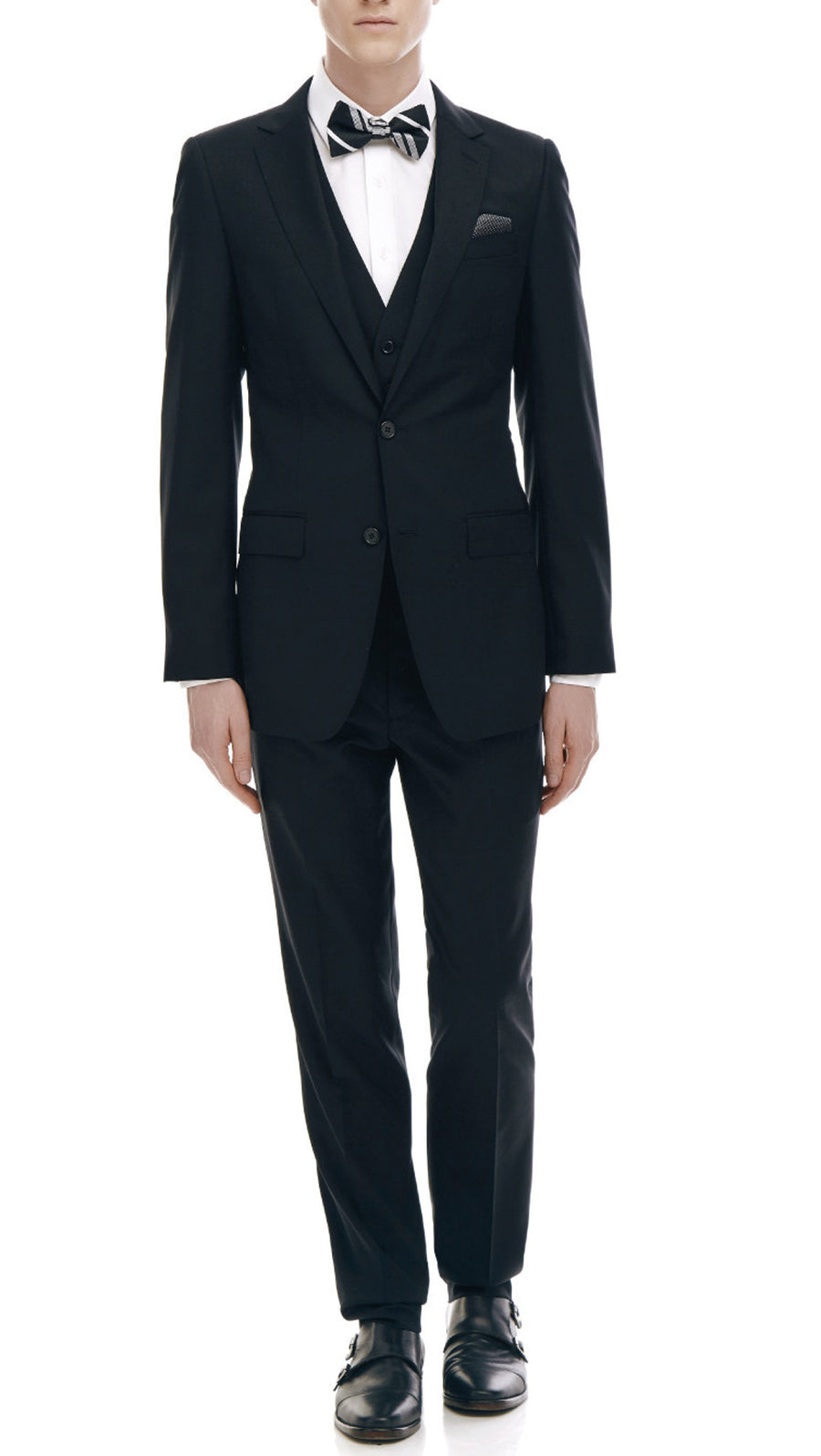 All-Purpose Black Suit FREE SHIRT + TIE/BOW TIE + POCKET HANKIE