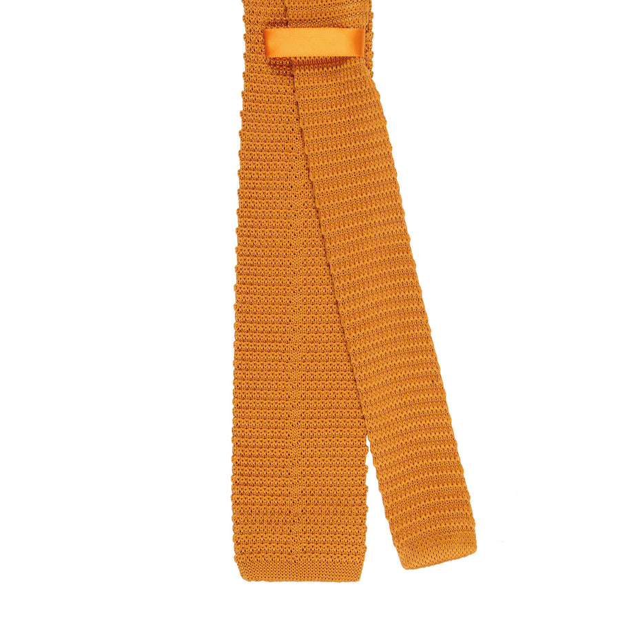CEO Made In Italy Knitted Tie in Burnt Orange