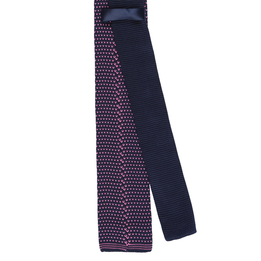 CEO Made In Italy Knitted Tie in Navy / Pink