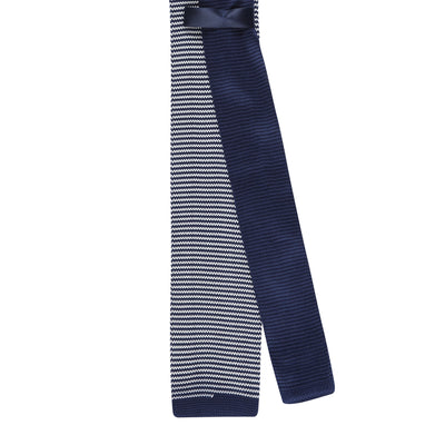 CEO Made In Italy Knitted Tie in Navy / White