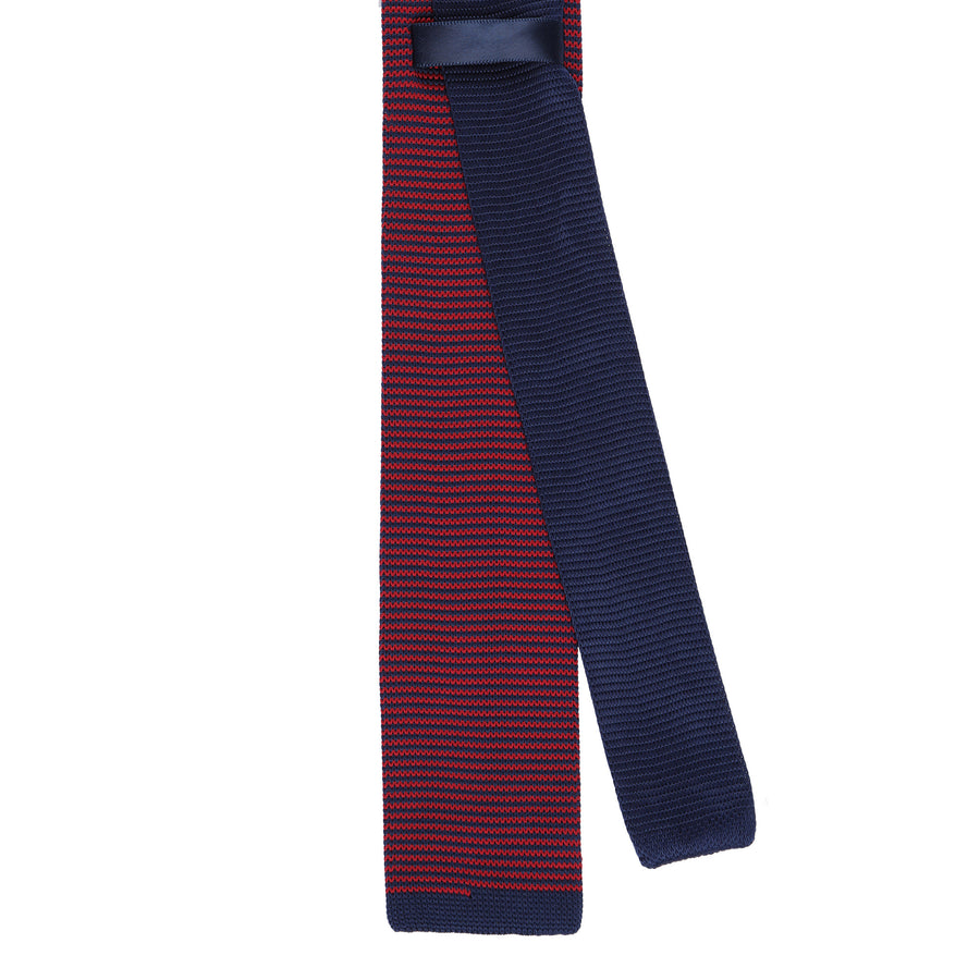 CEO Made In Italy Knitted Tie in Navy / Red