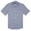 CEO Short Sleeve Linen Shirt in Blue/Brown Check