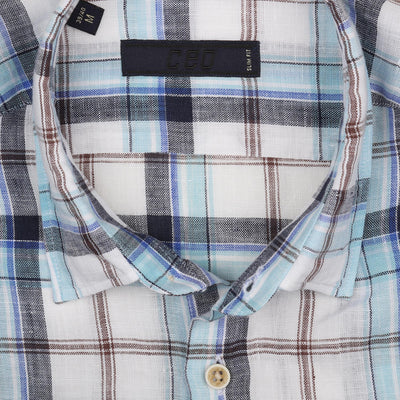 CEO Short Sleeve Linen Shirt in Blue Check - Ron Bennett Menswear  - 2