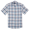 CEO Short Sleeve Linen Shirt in Blue Check - Ron Bennett Menswear  - 1