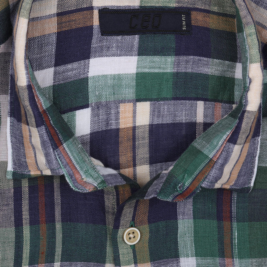 CEO Short Sleeve Linen Shirt in Green Check