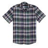 CEO Short Sleeve Linen Shirt in Green Check - Ron Bennett Menswear  - 1