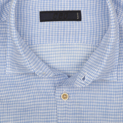 CEO Short Sleeve Linen Shirt in Sky Check - Ron Bennett Menswear  - 2