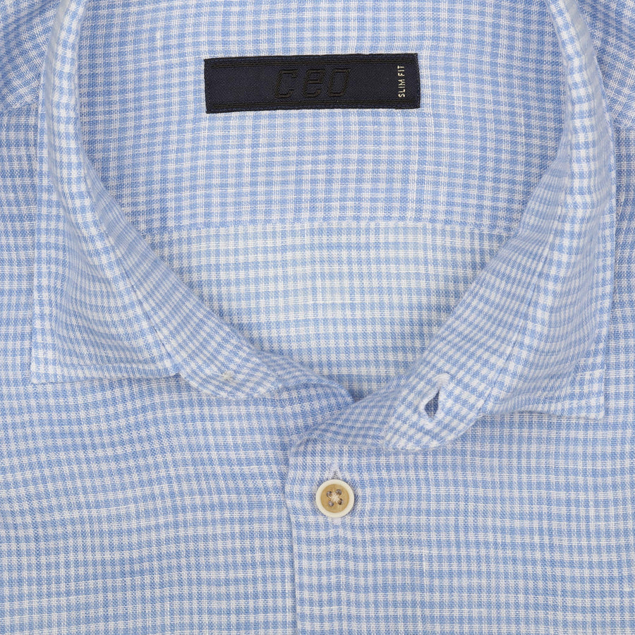 CEO Short Sleeve Linen Shirt in Sky Check