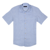 CEO Short Sleeve Linen Shirt in Sky Check - Ron Bennett Menswear  - 1