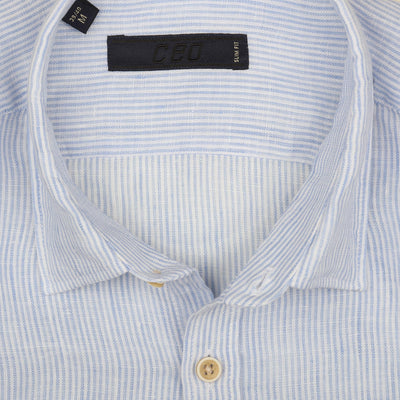 CEO Linen Shirt in Light Blue - Ron Bennett Menswear  - 2