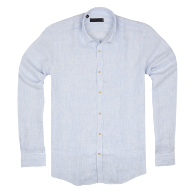 CEO Linen Shirt in Light Blue - Ron Bennett Menswear  - 1