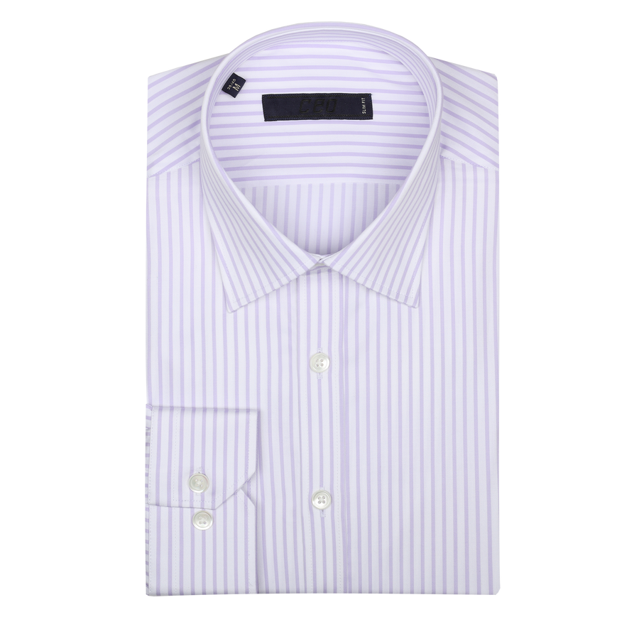 CEO Slim Fit Shirt in Mauve Stripe - Ron Bennett Menswear