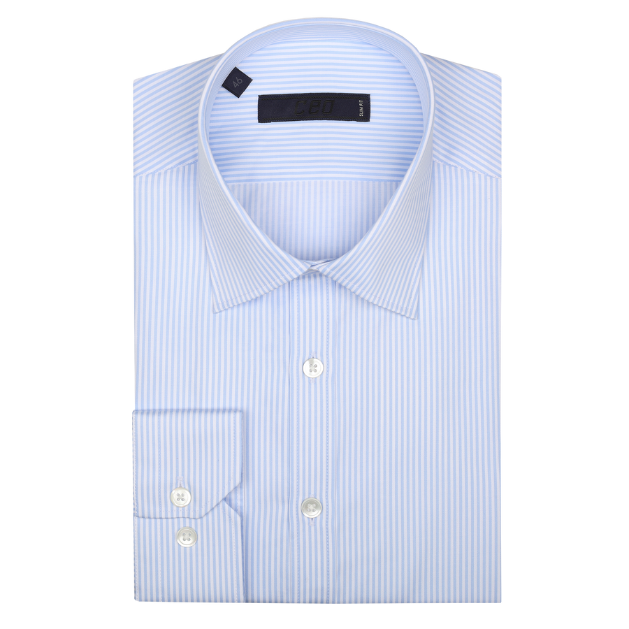 CEO Slim Fit Shirt in Sky Stripe - Ron Bennett Menswear