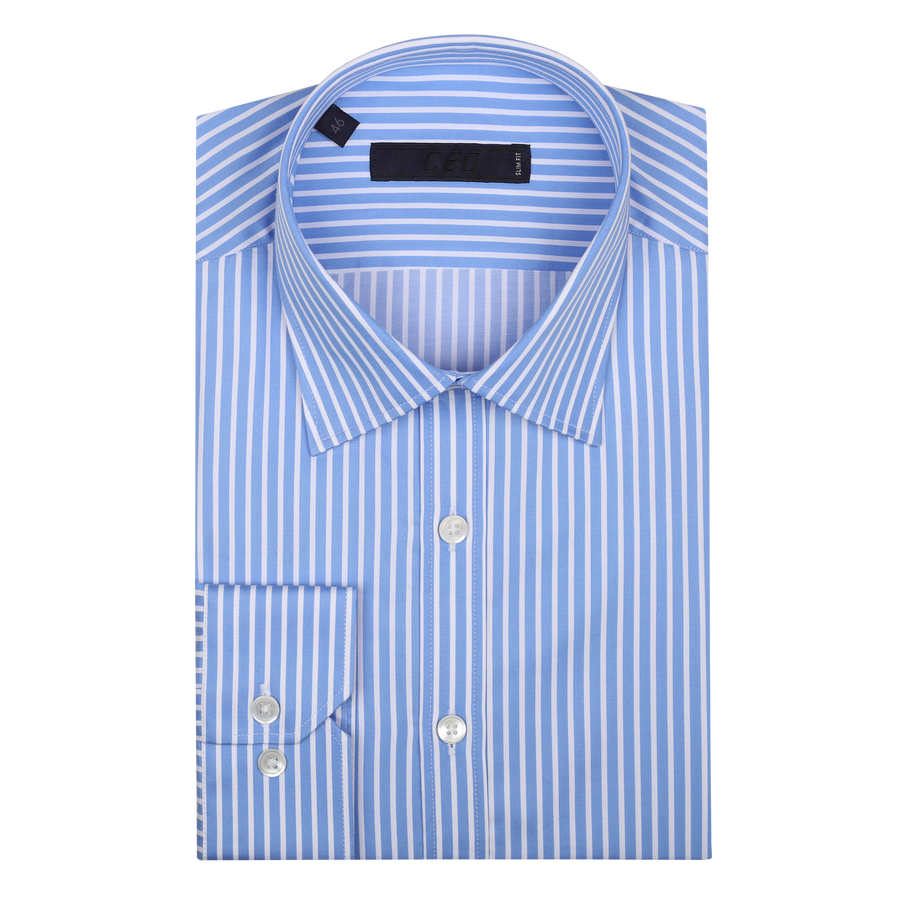 CEO Slim Fit Shirt in Blue Stripe - Ron Bennett Menswear