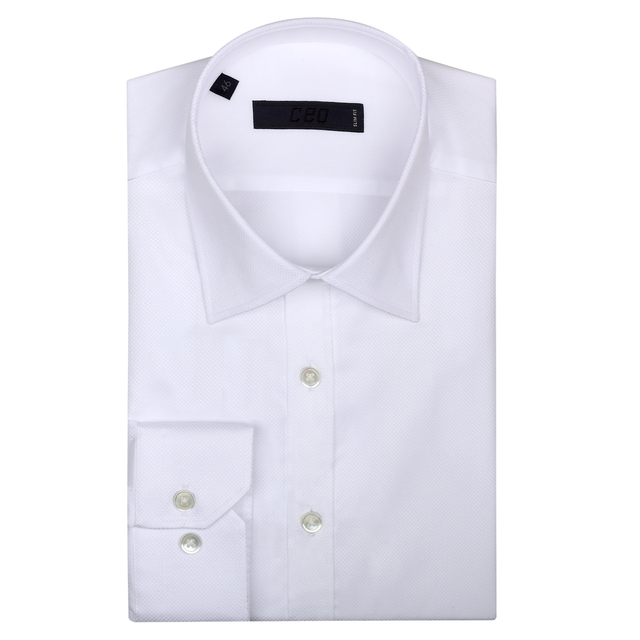 CEO Slim Fit Shirt in White Fine Dot - Ron Bennett Menswear