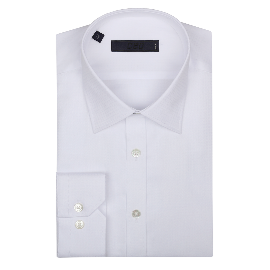 CEO Slim Fit Shirt in White Fine Check - Ron Bennett Menswear