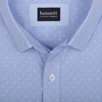 Bennett Short Sleeve Shirt in Sky - Ron Bennett Menswear  - 2
