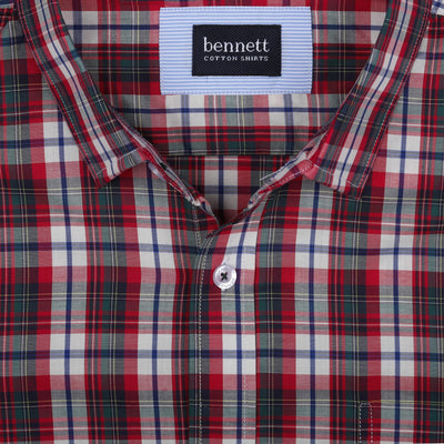Bennett Short Sleeve Shirt in Red Check - Ron Bennett Menswear  - 2