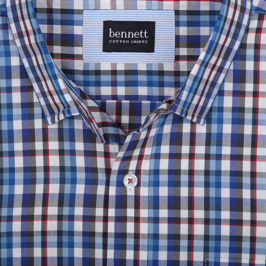 Bennett Short Sleeve Shirt in Blue Check - Ron Bennett Menswear  - 1