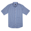Bennett Short Sleeve Shirt in Dark Blue Check - Ron Bennett Menswear  - 1