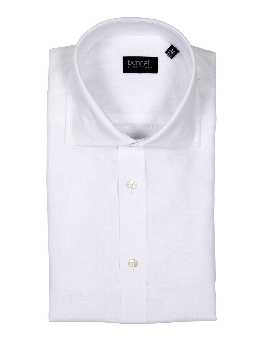 Bennett Signature Linen Shirt in White - Ron Bennett Menswear
