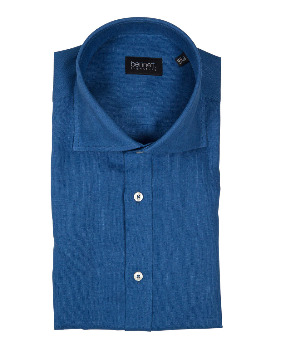 Bennett Signature Linen Shirt in Blue - Ron Bennett Menswear