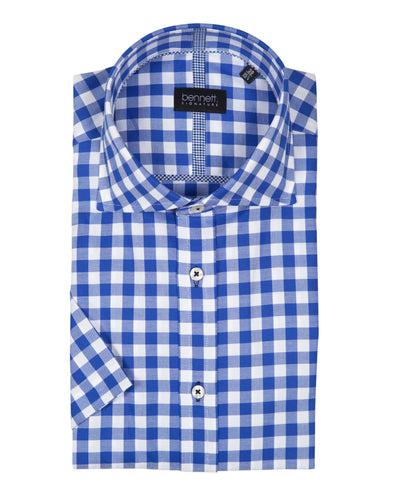 Bennett Signature Short Sleeve Shirt in Cobolt - Ron Bennett Menswear  - 1