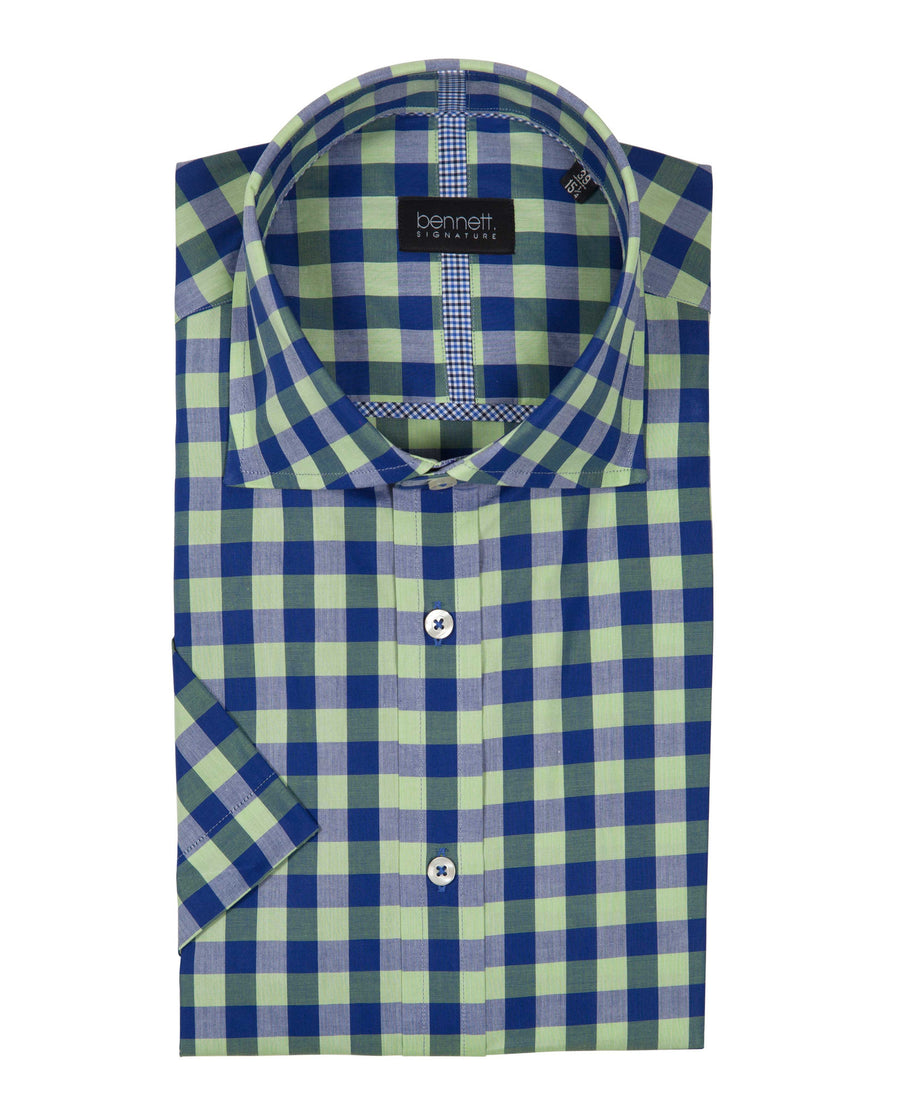 Bennett Signature Short Sleeve Shirt in Lime - Ron Bennett Menswear