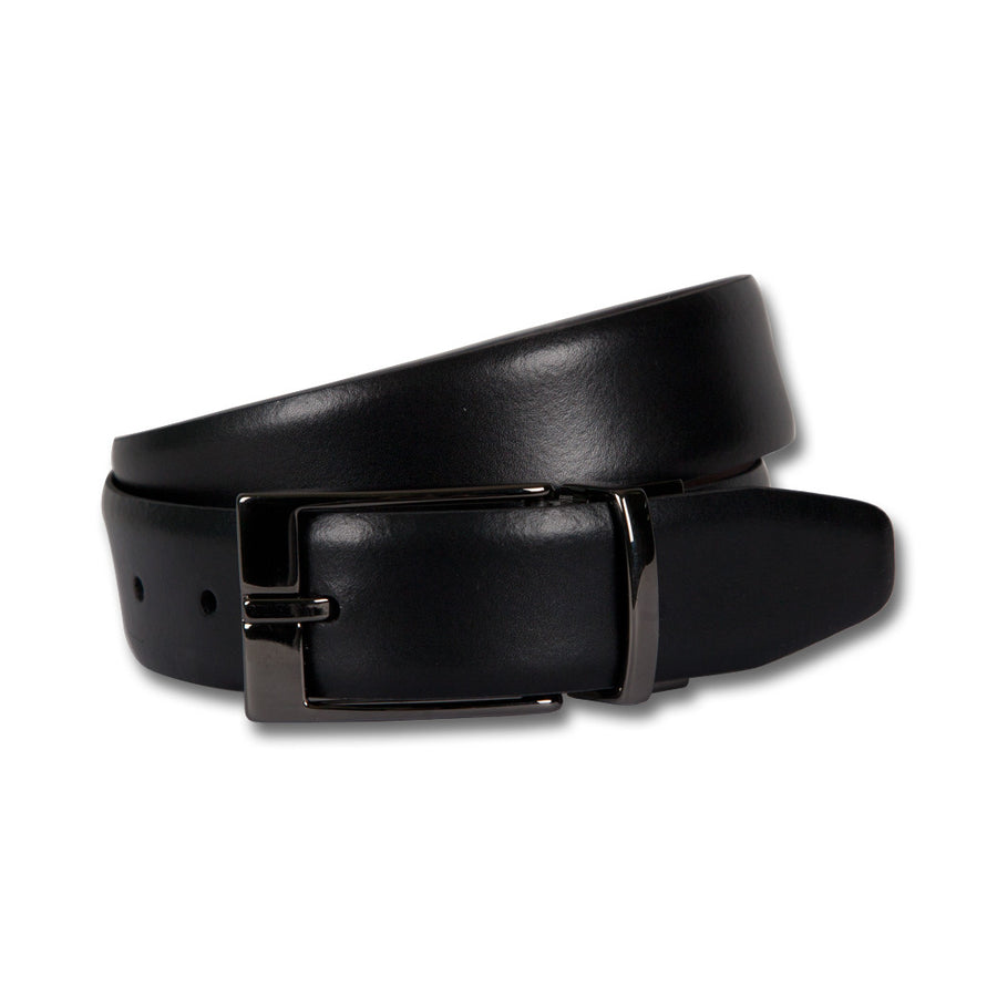 Ron Bennett Reversible Leather Belt in Black - Ron Bennett Menswear