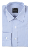Bennett Signature Business Shirt in Blue/White Stripe - Ron Bennett Menswear