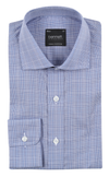 Bennett Signature Business Shirt in Blue Check - Ron Bennett Menswear