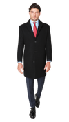Bennett Heritage Overcoat in Black - Ron Bennett Menswear  - 1
