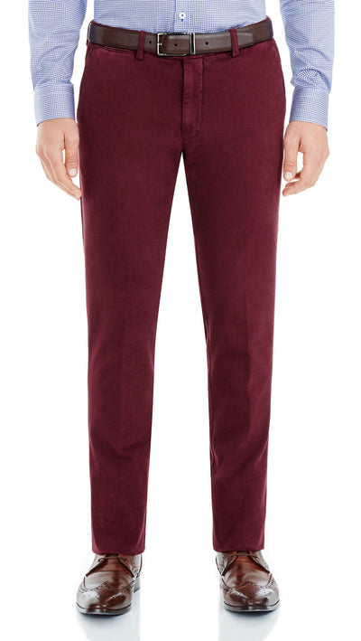 Bennett Italian made Cotton Chino in Bordo - Ron Bennett Menswear  - 1
