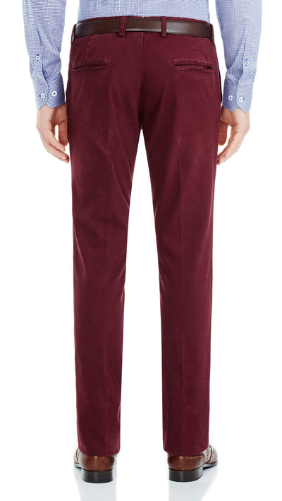 Bennett Italian made Cotton Chino in Bordo - Ron Bennett Menswear  - 2