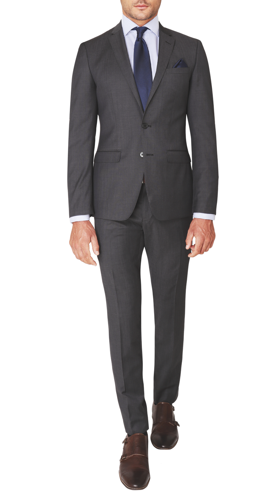 Trench Slim Fit Performance Suit in Nero