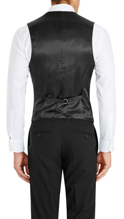 Trench Five Button Vest in Black - Ron Bennett Menswear  - 2