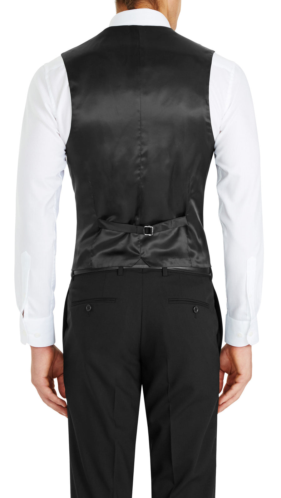 Trench Five Button Vest in Black - Ron Bennett Menswear  - 1
