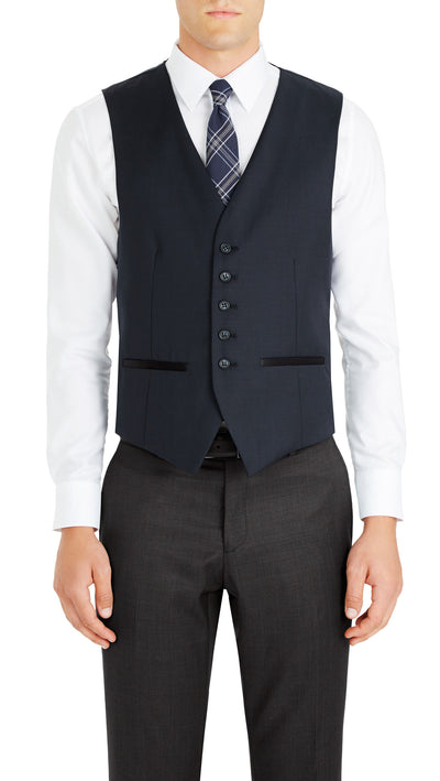Trench Five Button Vest in Dark Blue - Ron Bennett Menswear  - 1