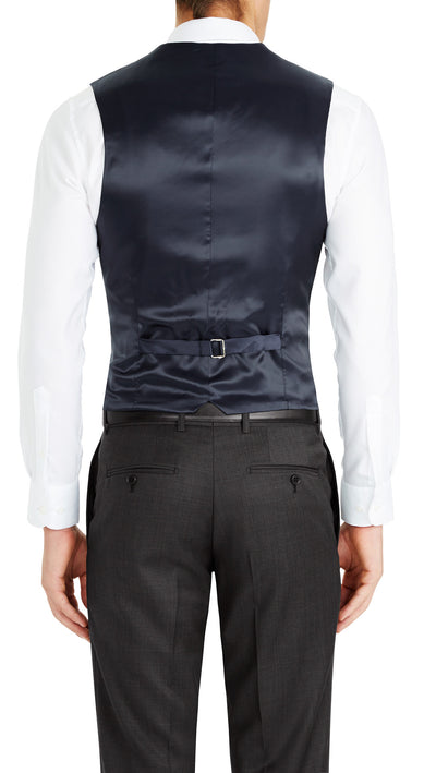 Trench Five Button Vest in Dark Blue - Ron Bennett Menswear  - 2
