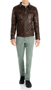 Bennett Leather Bomber Jacket in Dark Brown
