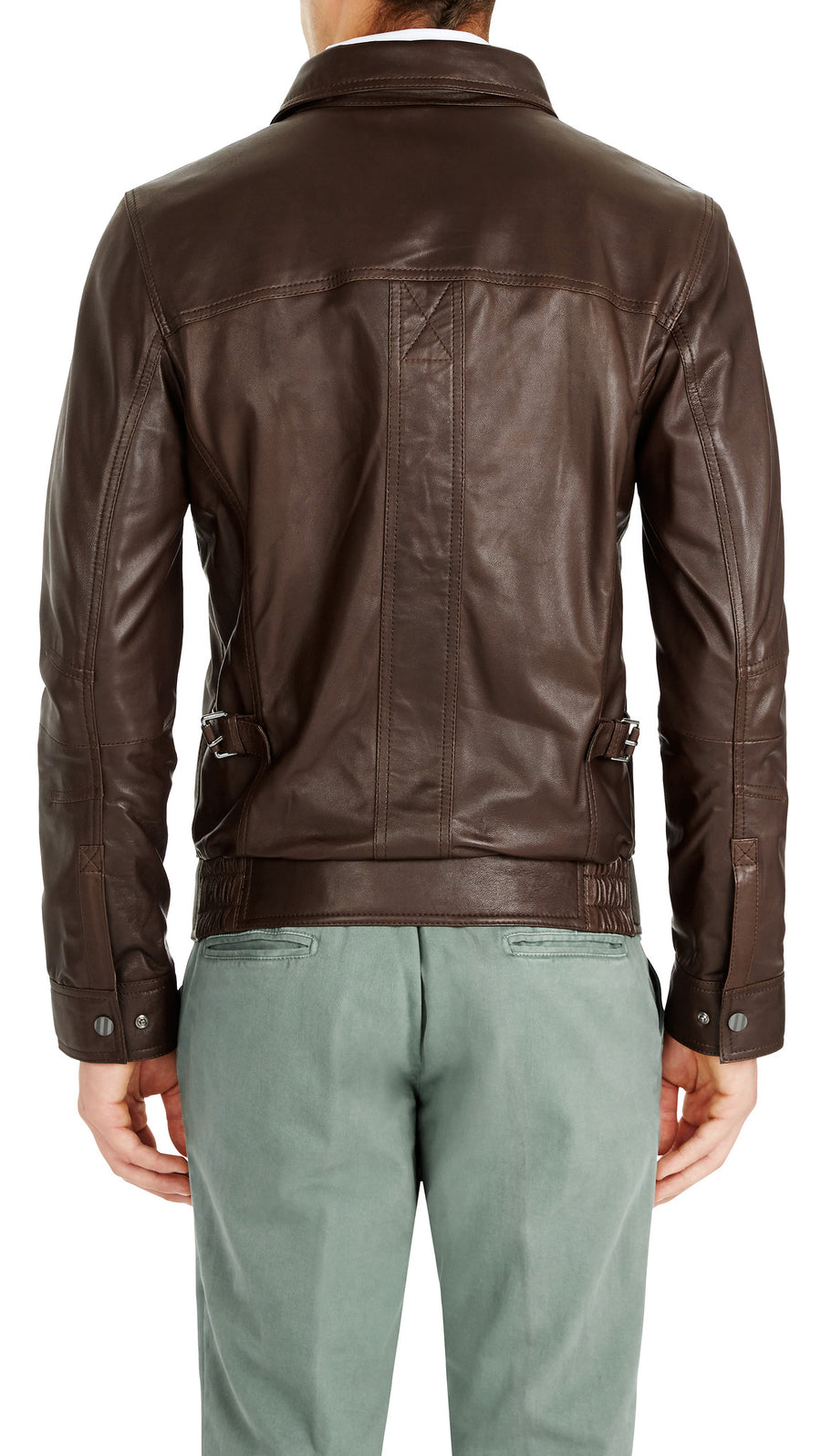 Bennett Leather Bomber Jacket in Dark Brown - Ron Bennett Menswear  - 1
